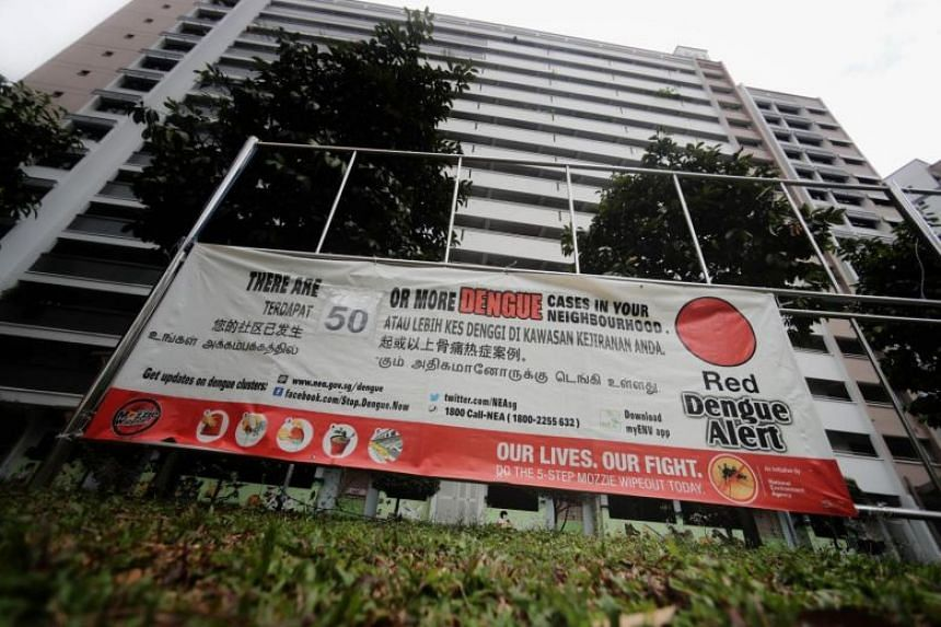 A dengue alert banner in Jurong West Street 61 on Nov 21, 2019. The National Environment Agency expects the number of dengue cases to remain high into 2020.