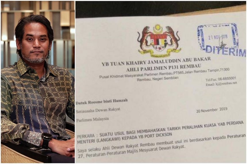 The proposal, which was under the letterhead of Barisan Nasional's Rembau MP Khairy Jamaluddin, proposed a private motion to debate the date of transition of premiership.