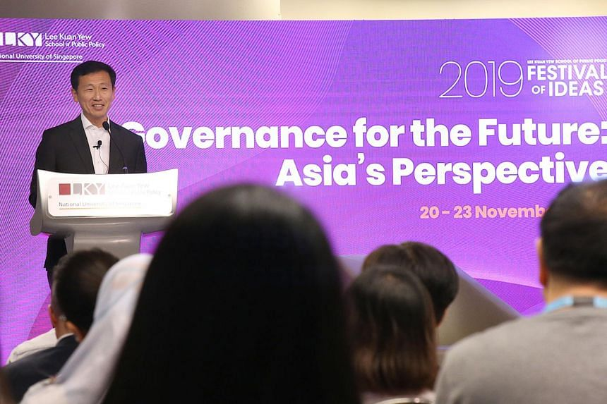 Education Minister Ong Ye Kung speaking on the third day of the inaugural Festival of Ideas, organised by the Lee Kuan Yew School of Public Policy, on Nov 22, 2019.