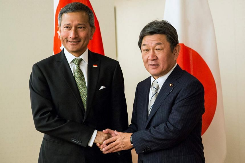 Foreign Minister Vivian Balakrishnan with his Japanese counterpart Motegi Toshimitsu in Tokyo on Nov 22, 2019.