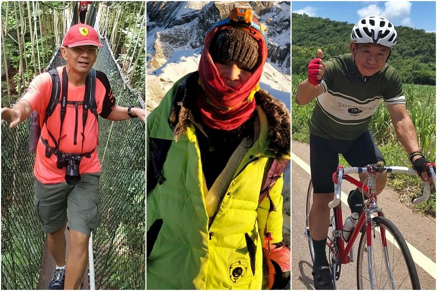 (From left) Lim Tiong Jee, 71, in Taman Negara national park in Malaysia, Irene Yeow, 66, at Mount Siguniang in Sichuan, and Poon Kng Joo, 63, riding over 100 km in Thailand to the border with Myanmar.