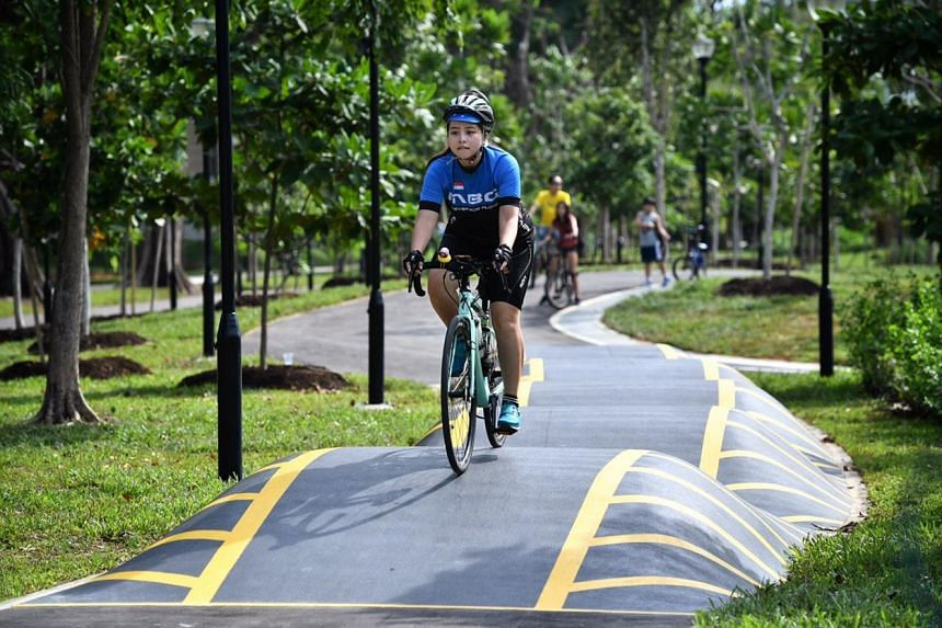 Cyclists try out the undulating tracks at the Advanced Circuit in the new Cyclist Park on Nov 23, 2019.