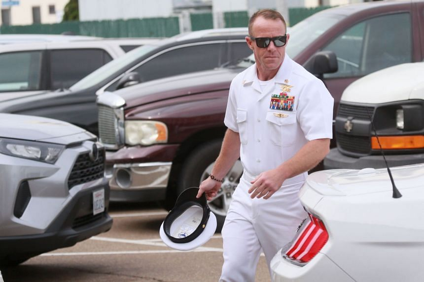 In this photo taken on June 21, Navy Special Operations Chief Edward Gallagher walks into military court in San Diego, California.