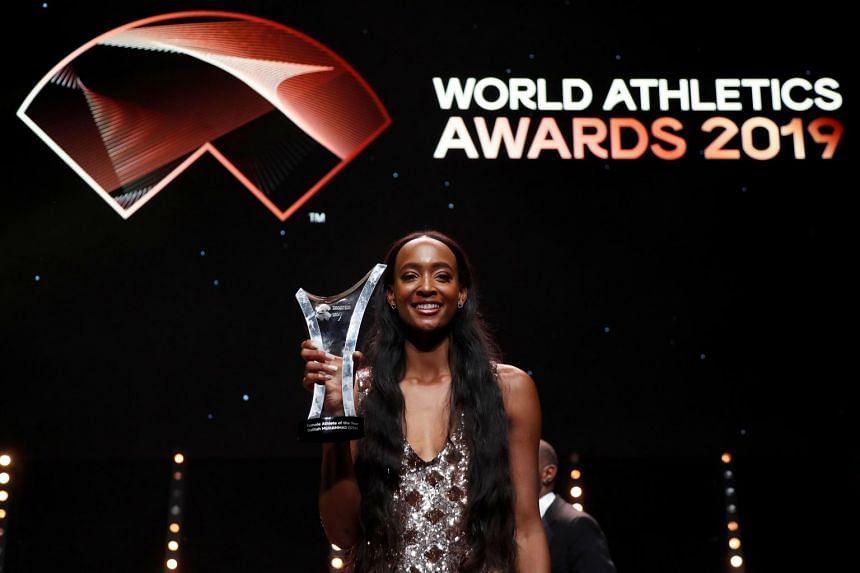 Dalilah Muhammad of the US wins the Female Athlete of the Year Award.