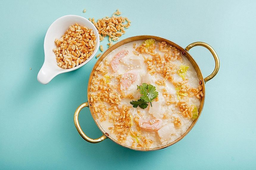 Seafood Crackling Rice Soup.