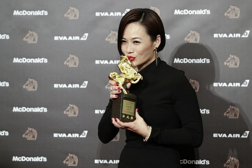 Actress Yeo Yann Yann posing with her trophy after winning the Best Leading Actress award at the 56th Golden Horse Awards ceremony in Taipei on Nov 23, 2019.