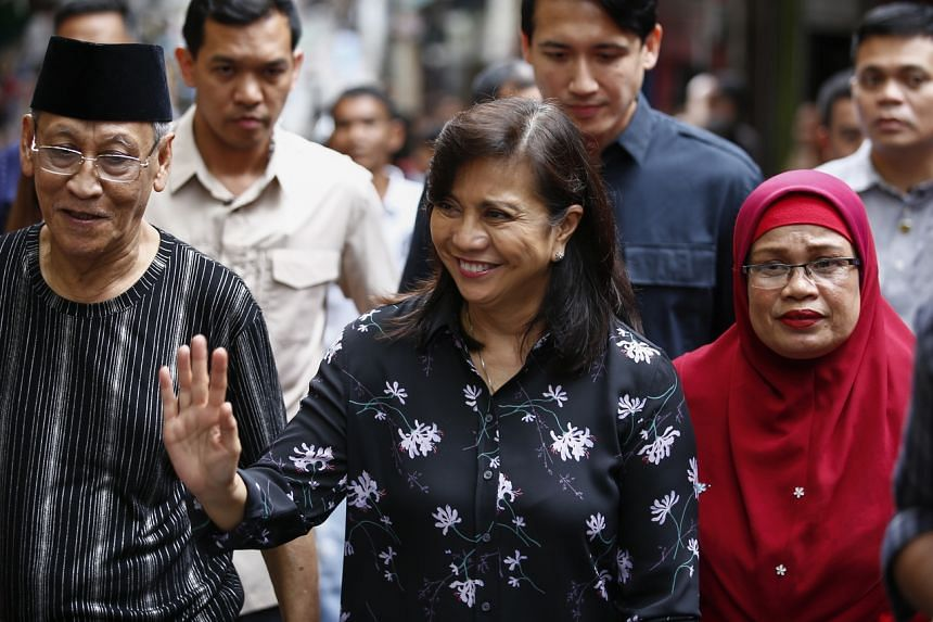 Philippine Vice-President Leni Robredo visiting the Salam Compound in Culiat District, Quezon City, during the Drug Abuse Prevention and Control Week, on Nov 22, 2019.