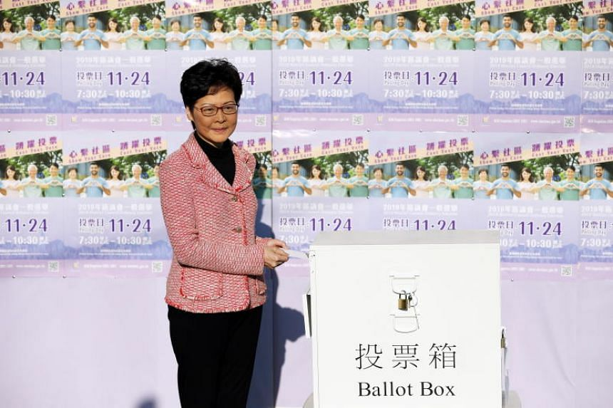 Hong Kong Chief Executive Carrie Lam casting her vote on Nov 24, 2019.