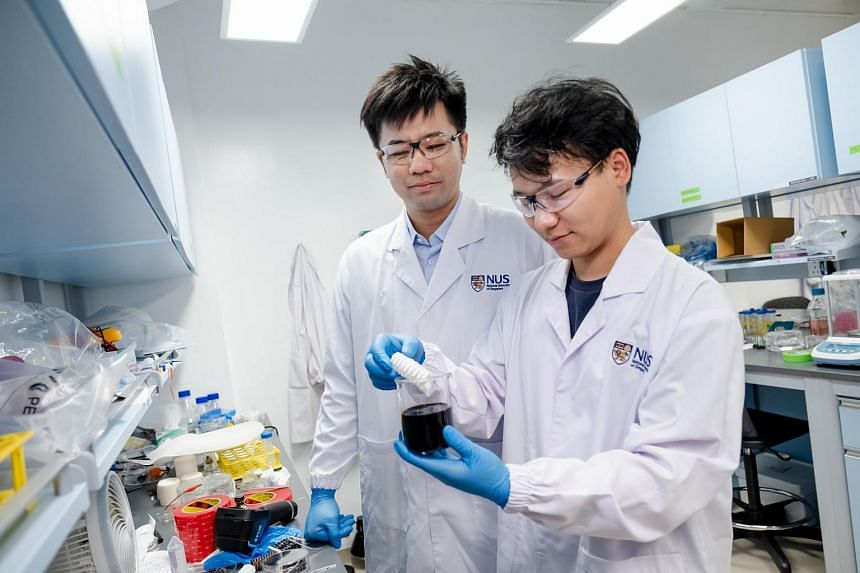 """NUS Assistant Professor Chen Po-Yen (left) and doctoral student Yang Haitao were part of the team that pioneered a novel method to create a new metallic material for soft and flexible """"origami"""" robots."""