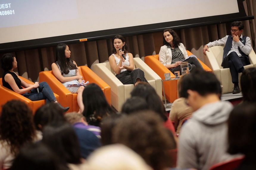 (From left) Moderator Lim Xiu Xuan, senior case manager at Aware's Sexual Assault Care Centre (SACC); Ms Priscilla Chia, a litigator and volunteer lawyer with SACC; Ms Monica Baey, an advocate for survivors of sexual violence; Ms Amber Hawkes, Facebo