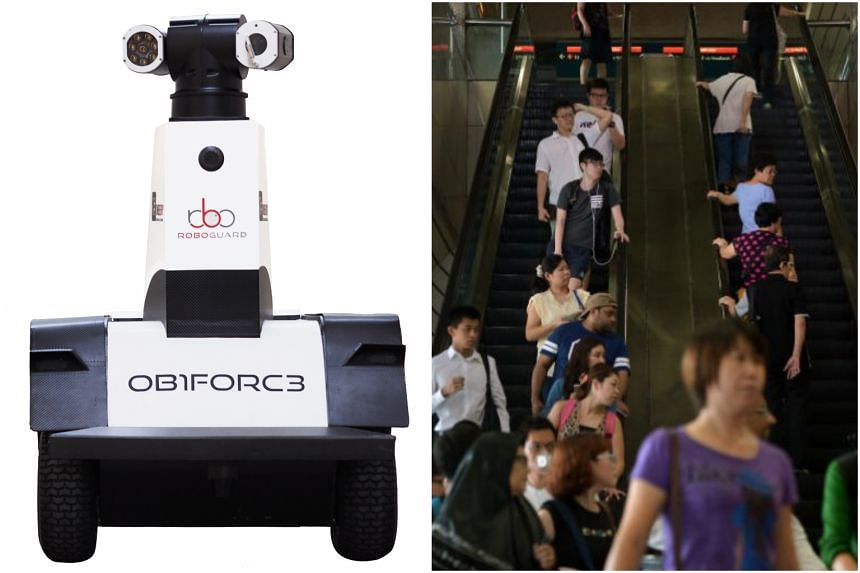 The OB1FORC3 is one of two robots that will carry out surveillance activities around Ang Mo Kio station's exterior premises.