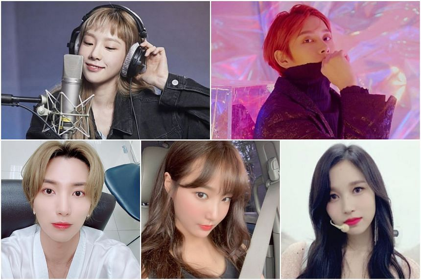(Clockwise from top left) Girls Generation's Taeyeon, Super Junior's Heechul, Twice's Mina, Momoland's Yeonwoo and Super Junior's leader Leeteuk.