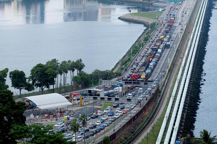 A photo taken on Dec 22, 2018, shows the traffic jam at the Causeway.