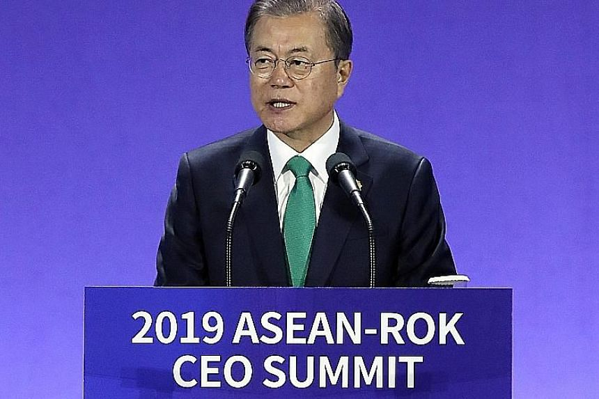 South Korean President Moon Jae-in yesterday reaffirmed a commitment to develop infrastructure in South-east Asia, leveraging on South Korea's strengths in transportation, energy and smart cities. PHOTO: EPA-EFE
