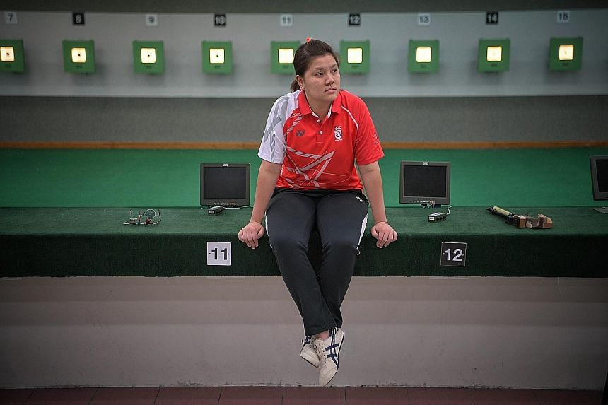 National shooter Teo Shun Xie will go to the Philippines with her cross hairs focused on a pistol gold medal she last won in 2015. ST PHOTO: MARK CHEONG