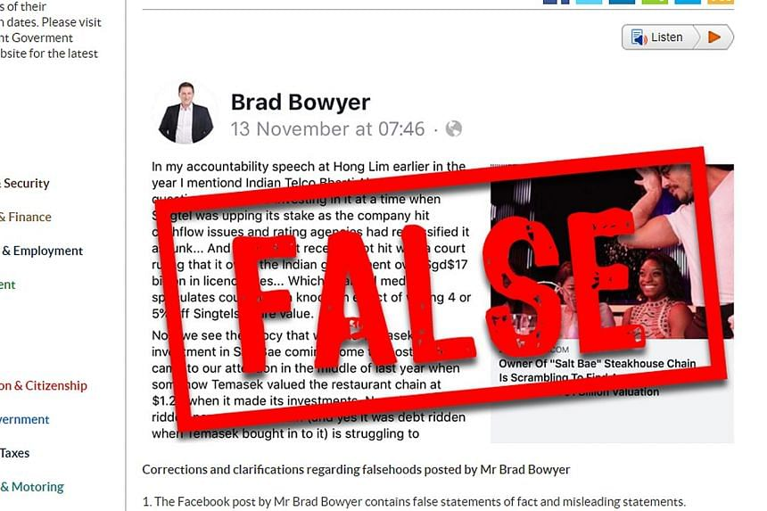 Progress Singapore Party member Brad Bowyer had implied in a Nov 13 post that the Government controls Temasek's and GIC's commercial decisions, which is false, the Government said on its fact-checking website Factually. PHOTO: GOV.SG
