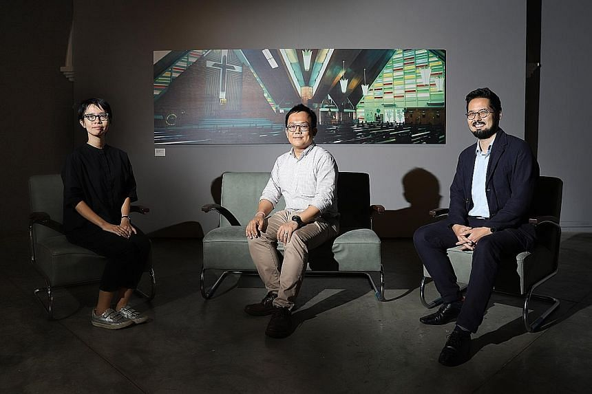 (Above from left) Objectifs' manager Chelsea Chua, Studio Lapis' founding partner Ho Weng Hin and Goethe-Institut Singapore director Han-Song Hiltmann at the photography exhibition at Objectifs. It features works by the late photographer Jeremy San,