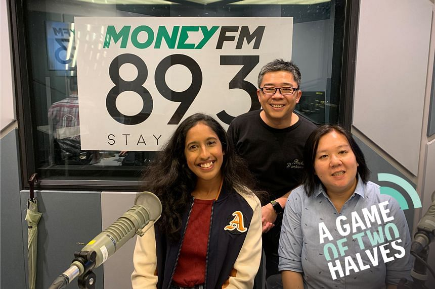 Money FM's Bernard Lim (centre) hosts ST assistant sports editor Low Lin Fhoong (right) and special guest, national sprinter Shanti Pereira (left), who will be competing at the South-east Asian Games in the Philippines in December in the 100m, 200m a