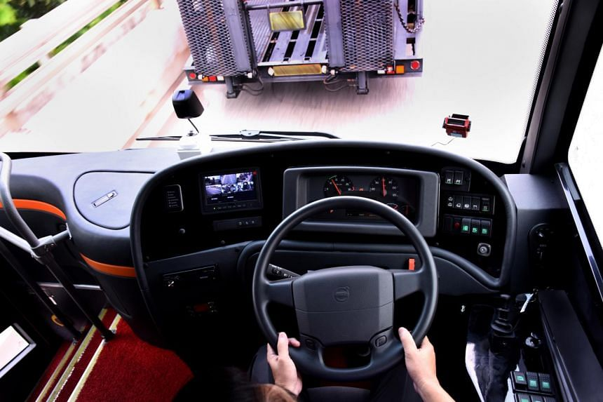"""ComfortDelgro has bought four Volvo buses that are equipped to brake automatically and come to a stop if they """"sense"""" a collision is about to take place."""