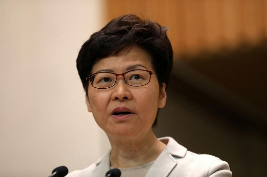 Hong Kong Chief Executive Carrie Lam speaking to the media following local elections in the former British colony, on Nov 26, 2019.