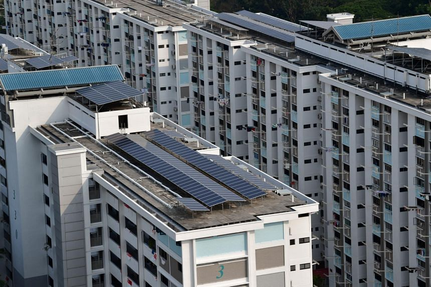 Solar panels on the roof of HDB blocks in Ang Mo Kio.