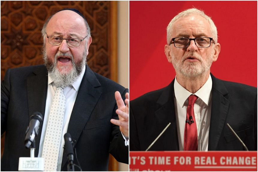 "Britain's Chief Rabbi Ephraim Mirvis wrote of a ""failure of leadership"" by opposition Labour leader Jeremy Corbyn."