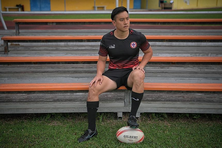 Daryl Chia during a break in training at the Queenstown Stadium recently. He was tempted to quit after his ACL injury in 2017 but overcame his setback and is now back in form. ST PHOTO: MARK CHEONG