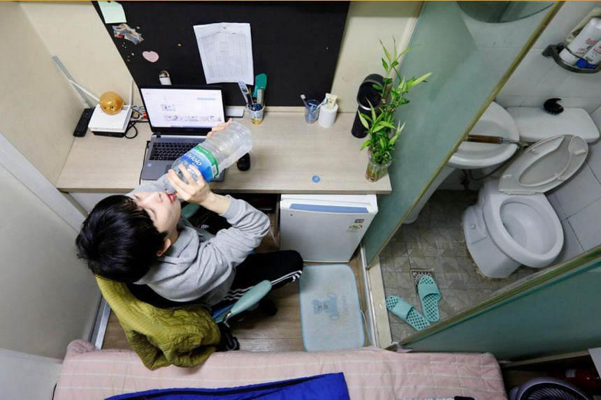 """The 6.6 sq m sparse rooms are becoming permanent homes to young people like Hwang Hyeon-dong, who identifies himself among the """"dirt spoons"""", those born to low-income families who have all but given up on social mobility."""