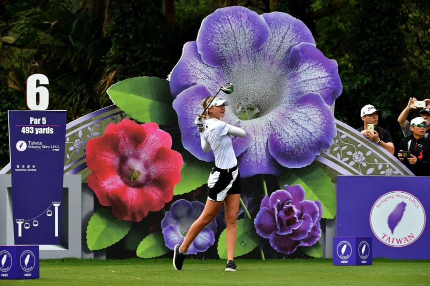 Nelly Korda of the US hitting a shot during the final round of the Taiwan Swinging Skirts LPGA tournament, on Nov 3, 2019.