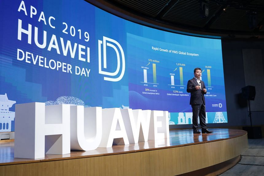 Huawei Consumer Cloud Service's president Zhang Ping'an speaking at Huawei's Asia-Pacific Developer Day conference earlier this month.