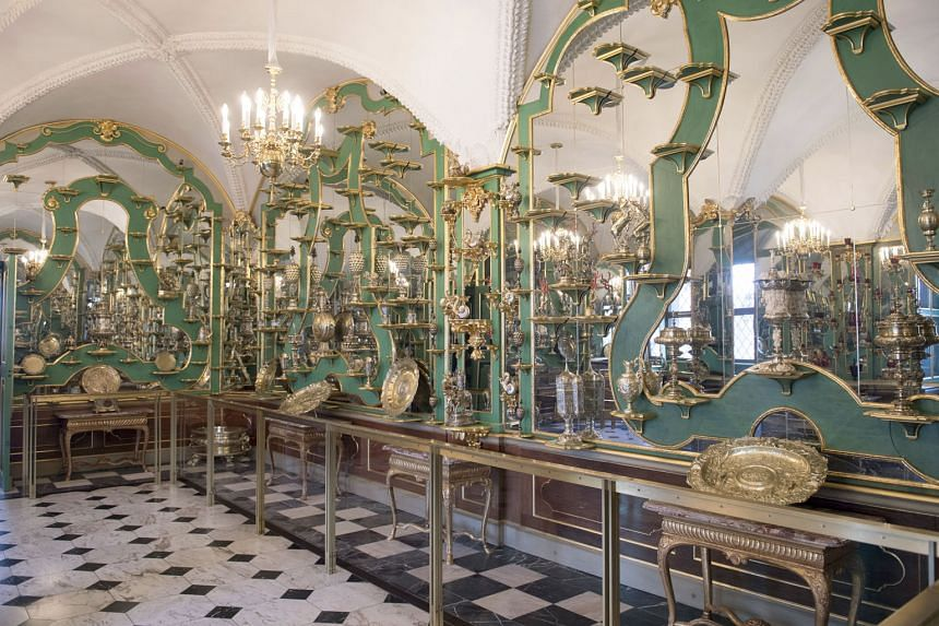 Above: A part of the collection in the Green Vault at Dresden's Royal Palace. The German media has described Monday's incident as the biggest art heist of all time.