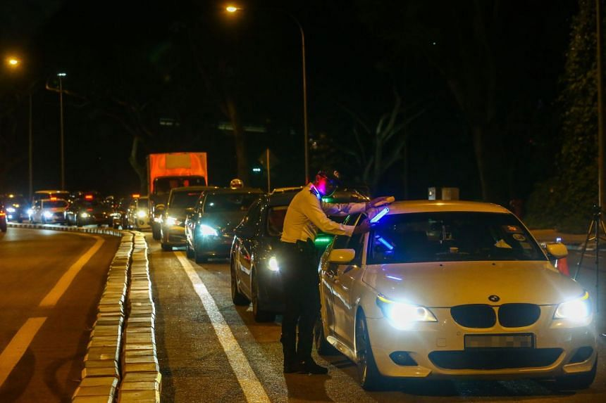 Traffic police conducting an anti-drink driving operation on Jan 5, 2019.