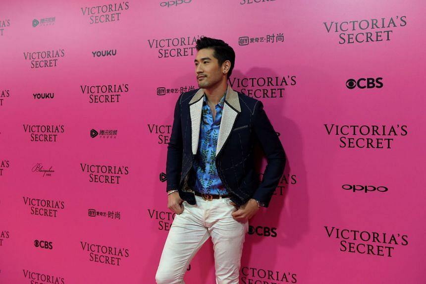Godfrey Gao posing at the 2017 Victoria's Secret Fashion Show in Shanghai. Gao was the first Asian male model to appear in Louis Vuitton's ad campaign in 2011.