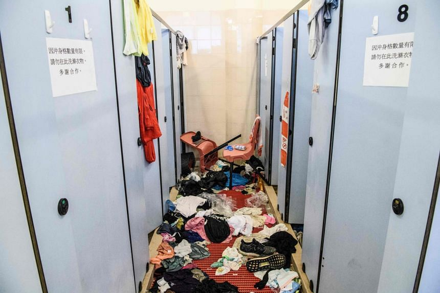 Discarded clothes and other objects in a changing room at the Hong Kong Polytechnic University in the Hung Hom district of Hong Kong on Nov 26, 2019.