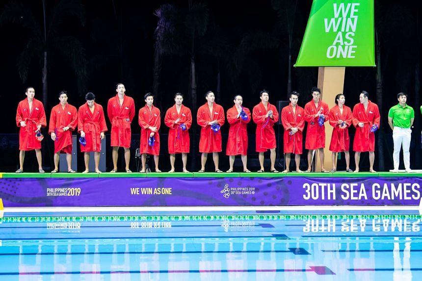 Singapore's men's water polo team defeated Malaysia 17-5 in their SEA Games match on Nov 27, 2019.