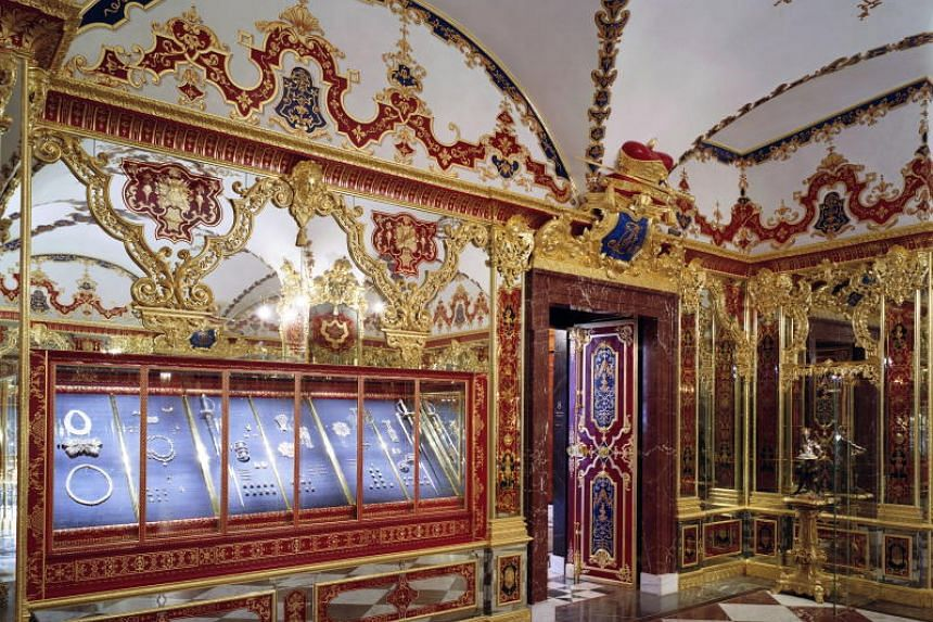 A handout photo made available by the Staatliche Kunstsammlungen Dresden on Nov 25, 2019, shows a jewellery showcase of Dresden's Treasury Green Vault in Dresden, Germany.