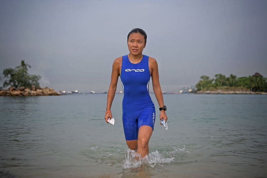 Shermaine Tung, part of a three-member Games team, will compete in the individual beach biathle and triathle, and mixed-relay beach biathle and triathle in the Philippines. ST PHOTO: MARK CHEONG