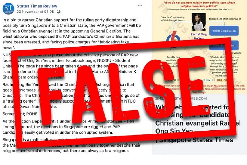 A screenshot of the corrections and clarifications regarding falsehoods posted by States Times Review on Facebook.