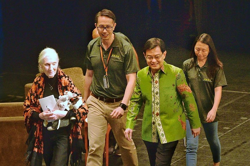(From left) Renowned primatologist Jane Goodall with Mr Tay Kae Fong, former president of Jane Goodall Institute (Singapore), Deputy Prime Minister Heng Swee Keat and the institute's president Andie Ang at the NUS University Cultural Centre yesterday
