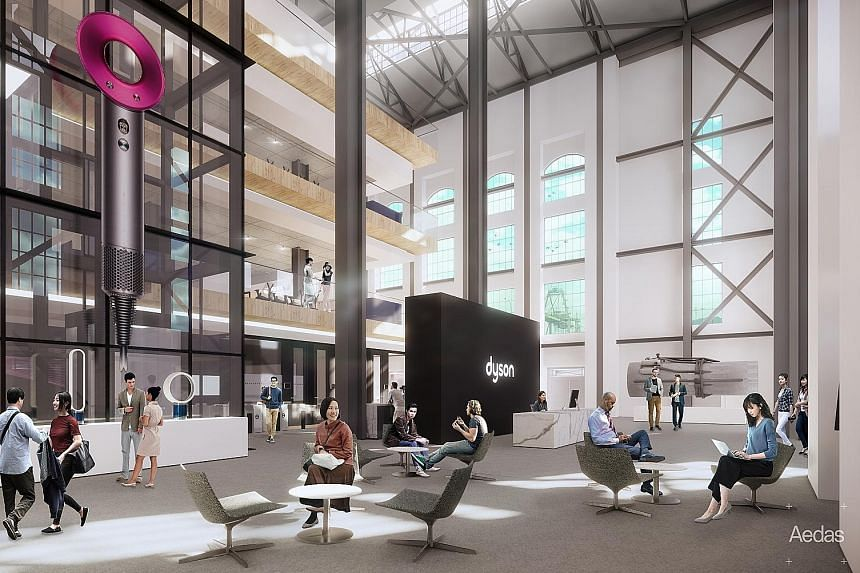 Above: Dyson and landlord Mapletree have agreed on terms for the historic St James Power Station, which has a gross floor area of 110,000 sq ft. Left: An artist's impression of Dyson's new headquarters, which will house three levels of technology lab