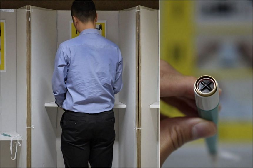 """Voters in certain constituencies will see prototype polling booths made largely from cardboard and other recyclable materials, while the new self-inking pens allow voters to easily stamp an """"X"""" on ballots."""