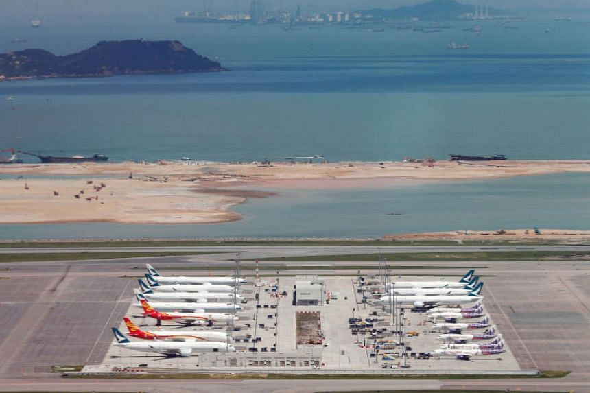 In a photo taken on Sept 6, 2019, Cathay Pacific Airways planes are seen at the Hong Kong International Airport.