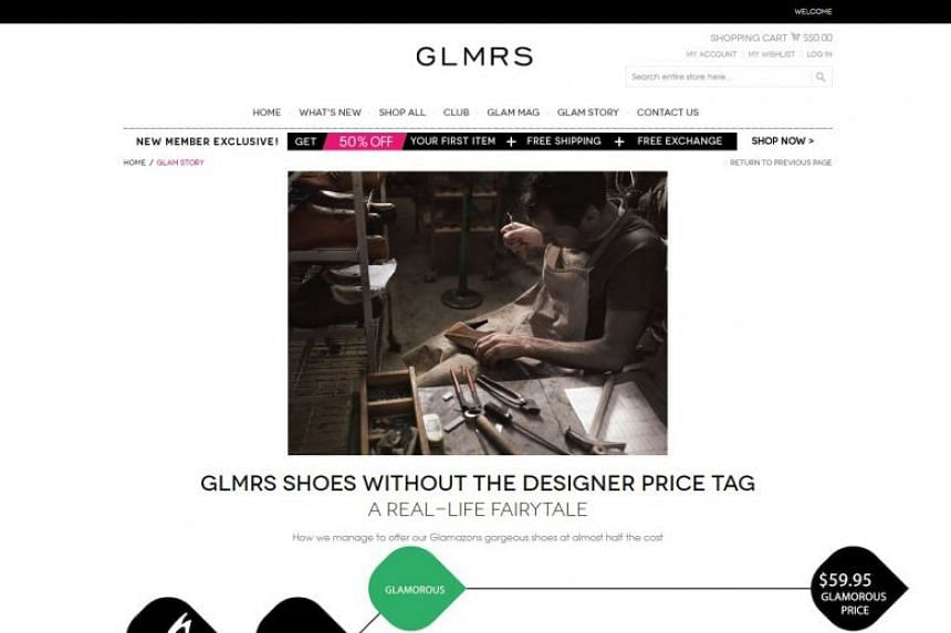 """A screengrab of footwear site myglamorous.sg taken on in January. Consumers who made purchases on the website alleged that they were charged a recurring monthly """"VIP Club"""" fee without their knowledge or consent."""