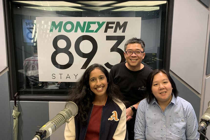 Money FM host Bernard Lim with The Straits Times assistant sports editor Low Lin Fhoong and special guest, national sprinter Shanti Pereira, for ST's weekly sports podcast #GameOfTwoHalves on Nov 26, 2019.