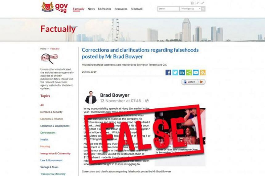 Progress Singapore Party member Brad Bowyer had implied in a Nov 13 post that the Government controls Temasek's and GIC's commercial decisions, which is false, the Government said on its fact-checking website Factually.