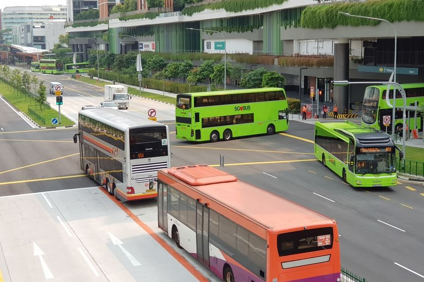 Buses outside the Yishun Integrated Transport Hub. Tenders have been called for operators to run 56 bus routes across the Bulim and Sembawang-Yishun packages.