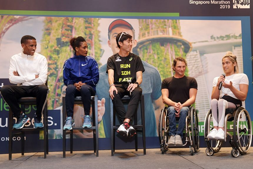 (From left) Yemane Tsegay, Mamitu Daska, Soh Rui Yong, Joshua George and Madison de Rozario at a press conference for this year's Standard Chartered Singapore Marathon at the Mandarin Oriental Hotel on Nov 29, 2019.