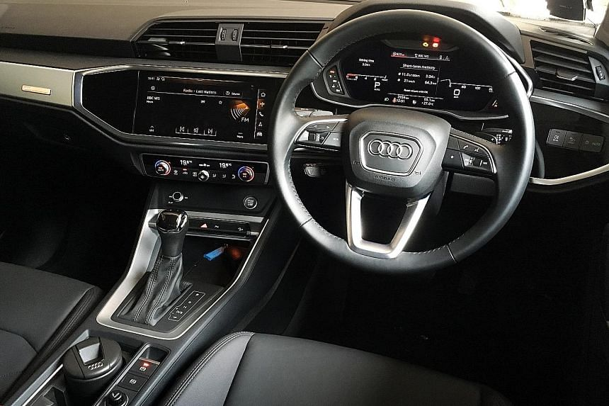 The Audi Q3 has a 12.3-inch virtual cockpit, 10.1-inch infotainment screen and wireless phone connection with Apple CarPlay and Android Auto.