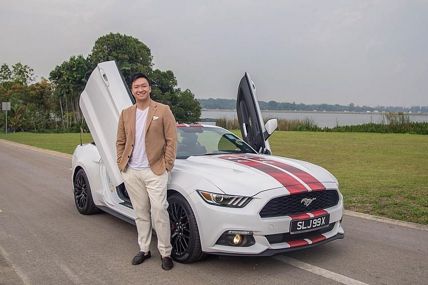 Dr Felix Li bought the Ford Mustang convertible in 2017 and he installed scissor doors and replaced the original blue accents with red ones.