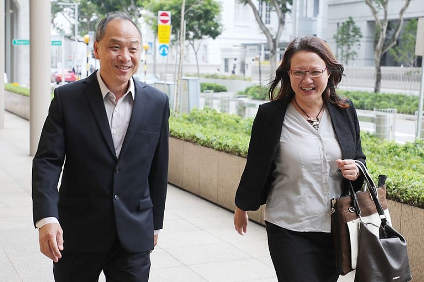 A photo taken on Oct 16, 2018, shows former Workers' Party chief Low Thia Khiang and WP chairman Sylvia Lim outside the Supreme Court.
